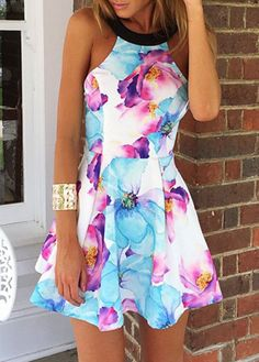 Flower Print Sleeveless A Line Dress