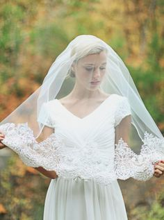 modest wedding dress veil chiffon LDS wedding dress