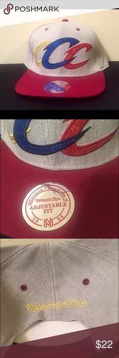 New Mitchell & Ness 100% Wool Cleveland Cavs Hat. New. Multi-Color large Cs. 100% wool.  Snap Back. Mitchell & Ness Accessories Hats
