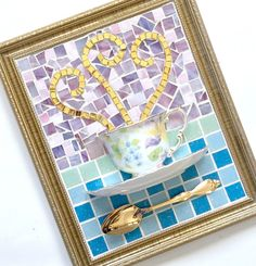 Mosaic Teacup Art Aqua Blue Lavender Gold by MashedPotatoMosaics