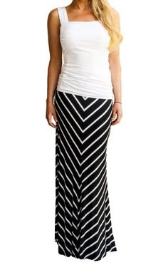 379e1f2dcf19 On Trend Women s Black and White Chevron V Lined Long Soft Striped Maxi  Skirt (Small