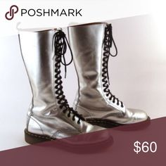 Silver metallic dr marten boots Silver metallic doc martin boots in a size 5. They are in excellent condition and go above the ankle. Dr. Martens Shoes Combat & Moto Boots