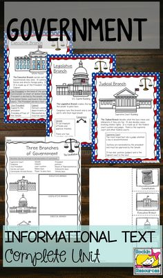 A government unit loaded with informational text and student printables. This teacher even added separate files to send to students on tablets. She made the informational text into student booklets too if you want them to have their hands on text!