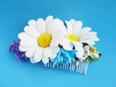 Flower comb Wedding comb Rustic comb For wedding cheap Hair jewelry Flower girl hair Combs and brushes Hair in comb Wldflowers Combing hair  Comb hair rustic handmade. Beautiful decoration for your hair. In it, I use colors that complement each other harmoniously. Delicate daisies, cornflowers cute and a sprig of roses all in one product. Immerse yourself in the world of harmony and nature.  All the elements are secure, but if you want to extend the life of the product keep it away from the…