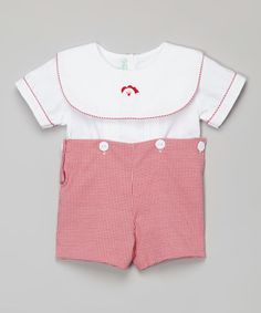 Look what I found on Red Gingham Santa Button-Waist Romper - Infant Red Gingham, Baby Boy Fashion, Sweet Dreams, Infant, Santa, Rompers, Buttons, Baby Style, Shorts