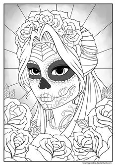 Sugar Skull Girl Colouring Page by TearingCookie on DeviantArt *** Day of the Dead dia de los muertos Sugar Skull Coloring pages colouring adult detailed advanced printable Kleuren voor volwassenen coloriage pour adulte anti-stress kleurplaat voor volwassenen Line Art Black and White                                                                                                                                                                                 More