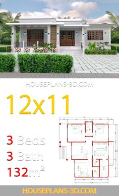 Home design with 3 Bedrooms Terrace roof - House Plans 3 design with 3 Bedrooms Terrace roof - House Plans 3d House Plans, Indian House Plans, House Layout Plans, Dream House Plans, Modern House Plans, Small House Plans, House Layouts, Simple House Design, Modern House Design