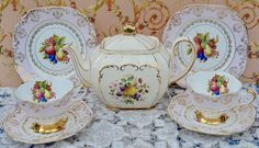 Sadler Cube, Imperial Tea for Two - Teapot, Tea Cups, Saucers, Tea Plates, Vintage Pale Pink, Floral, Fruit, Gilt Bone China, Exc Cond by ImagineHowCharming on Etsy