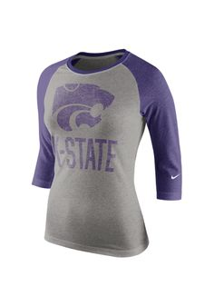 K-State Wildcats Nike T-Shirt - Wildcats Heather Grey Wildcats Raglan Block Long Sleeve http://www.rallyhouse.com/college/k-state-wildcats/a/womens/b/clothing/c/t-shirts?utm_source=pinterest&utm_medium=social&utm_campaign=Pinterest-KSUWildcats $36.00