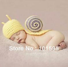 New arrival Handmade Cute Snail Style Handmade Crochet Newborn Baby Photography Props Free shipping