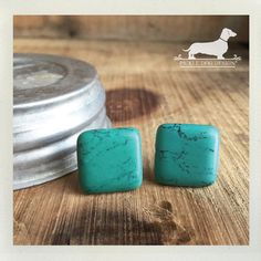 CLEARANCE Turquoise Square. Post Earrings  by PickleDogDesign