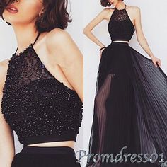 Unique design black chiffon halter two pieces prom dress, ball gown, prom dress 2016 #coniefox #2016prom