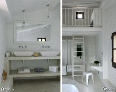 Dans une salle de bains de la  maison d'hôtes de charme 'La Bergerie de Nano', console en béton brut avec finition lissée 'Mortex® Color', Suspensions 'Swarovski'