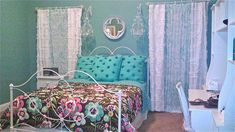 Fall In Love With 17 Pretty Teenage Girls Bedrooms : Pretty Turquoise Vintage Teenage Girls Bedroom Design with Iron White Frame Bed and Flo...