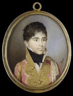 Nicholas François Dun, Prince Achille Murat (1801-1847), as a young man, wearing scarlet coat with elaborate gold brocade, gold embroidered white ribbons from a gold rosette on his left shoulder, white frilled shirt and black stock