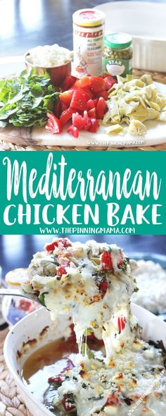 Easy + Delicious = Perfect dinner idea!! Mediterranean Chicken Bake Recipe is as simple as it is delicious. You make it in one pan and it is perfect for both busy week nights AND entertaining guests! Just get ready to hand out the recipe! Meditranian Recipes, Greek Recipes, Healthy Recipes, Cooking Recipes, Italian Recipes, Dinner Recipes, Mediterranean Meals, Baked Chicken Recipes, Recipe Chicken