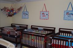 Baby room for triplets-  with a Raggedy Anne and Andy theme.  (The Vincent Triplets)