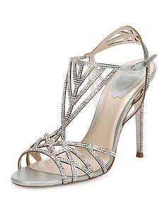 Crystal-Embellished+Cutout+105mm+Sandal,+Silver+by+Rene+Caovilla+at+Bergdorf+Goodman.