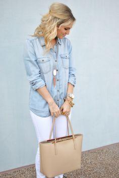denim blouse, white jeans, beige tote, white kendra scott tassle rayne necklace
