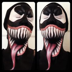 Venom Makeup Tutorial - definitely will not be using acrylics like this gal does. Use Starblends to avoid smudging :)