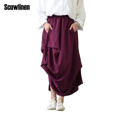 27285d9e3a SCUWLINEN New 2017 Summer Saia Women Skirt Solid Personality Irregular Long  Skirt Faldas Jupe for Women Saia Longa 4 Colors S182