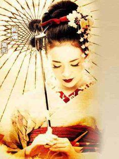 Geisha tattoo on upper arm