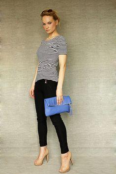 Oversized fold clutch Royal Blue  Leather Clutch on Etsy