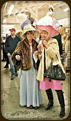 I want these two to shop in my store!!  LOVE The hats!!    Pege in the lampshade and mink, me in the pink doll hat and boots!  One of these days......(when we lose the last of our marbles! or throw them to the four winds!)