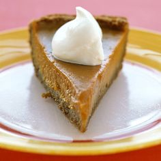 This Southern classic is a great alternative to pumpkin pie. The custard filling is creamier and less dense, as well as brighter in color. Top with whipped cream.