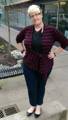 Fatshion OOTD: Thrifted sweater, leather jewelry, and flats with Torrid cropped jeans.