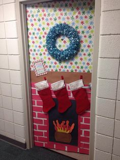 Christmas door decor. See our Christmas at College Board at http://www.pinterest.com/smartcollege/christmas-at-college/
