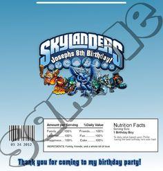 Skylanders Hershey label wrapper birthday Invitations party Digital File Printables. $5.00, via Etsy.