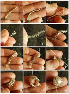 how to make beaded ring using peyote stitch This tutorial shows you step-by-step how to make a beaded ring with even count peyote. You will also learn how to make a beaded bezel for round focal bead. More from my site Twist ring tutorial Diy Beaded Rings, Diy Rings, Beaded Jewelry, Jewellery, Unique Diamond Engagement Rings, Gold Diamond Wedding Band, Wedding Ring, Tutorial Anillo, Crystals