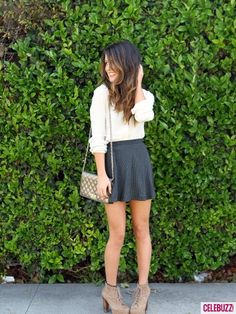 Shenae Grimes, Cute Sophistication: cream colored button down + mini polka dot skirt + quilted metallic bag + taupe wooden platforms