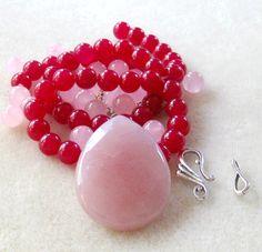 Jade Trio Silver DIY Jewelry Kits Bead Kits Gemstone Beads Semi Precious Beads Craft Supplies Jewelry Supplies 'Shades of Pink ON SALE!'