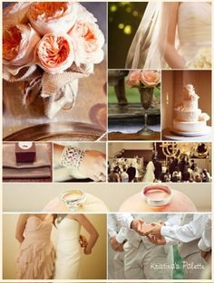 pink, tan, gold wedding colors (replace tan with pewter)
