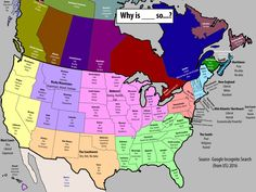 Top 3 autocomplete searches for Why is ___ so… in each state, province, region, and territory in the US & Canada + Mexico.