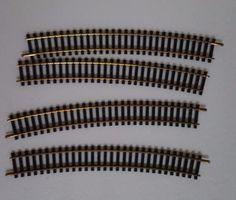 Lot-of-4-HO-Scale-Train-Track-Atlas-22-Radius-Curve-Black