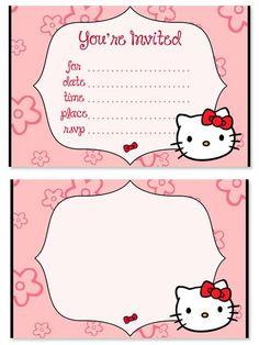 Free Hello Kitty Birthday Party Invitations for Kids from PrintableTreats.com