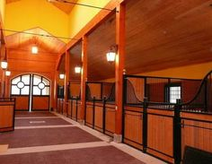 Beautiful end aisle doors. Love the low stall fronts. Doors and stalls by Lucas Equine.