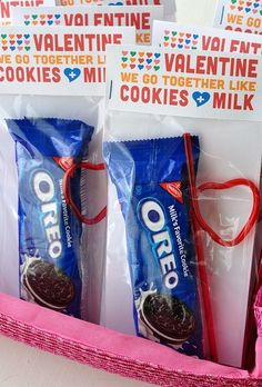 Great job finding this one Kristin!  Valentines -Oreos and Crazy Straw ... We go together like cookies and milk.