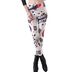 JOYHY Womens Stretchy Flag Digital 3D Printed Leggings Pants Footless Tights Korean -- Check this awesome product by going to the link at the image.