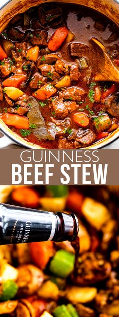 This hearty Guinness Beef Stew is filled to the brim with tender beef, potatoes, carrots, and mushrooms, all cooked in a thick and fragrant broth flavored with stout, tomato paste, and bacon.