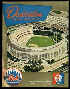 Shea Stadium Dedication Magazine 1964 New York Mets New York Mets Baseball, Baseball Park, Baseball Pitching, Ny Mets, Baseball Games, Baseball Equipment, Baseball Stuff, Baseball Field, New York Stadium