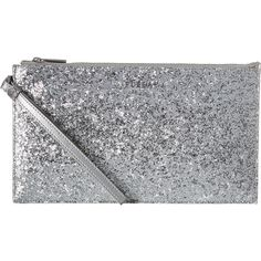 Furla Babylon Xl Envelope (Color Silver) Clutch Handbags ($133) ❤ liked on Polyvore featuring bags, handbags, clutches, grey, wristlet handbags, grey handbags, party handbags, silver handbag and gray purse