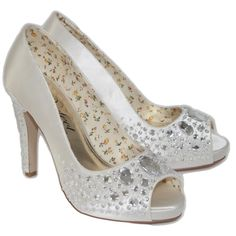 Roxy by Perfect Shoes - This perfect peep toe is a real stunning with its sprinkling of crystals over the toe and the heel and its pretty floral lining.   The satin is 100% dyeable and looks fabulous as a coloured wedding shoe or  pink , blue or green bridesmaid shoe! Perfect by VT is an industry leading wedding shoe manufacturer and this is definitely a top selling style!   £125.00