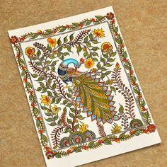 Shinjini`s Art – Indian Folk Art (Madhubani, Kalamkari, Gond) Peacock Wall Art, Peacock Painting, Fabric Painting, Peacock Logo, Mural Painting, Indian Traditional Paintings, Indian Art Paintings, Traditional Art, Colorful Paintings