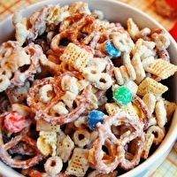 White chocolate chex mix...also know as Christmas Joy-my friend made this a couple of years ago and it is amazing!