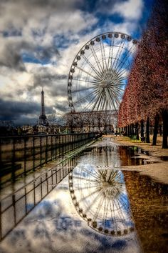 Ferris Wheel and Eiffel Tower Paris, by Kay Gaensler. Being that my great great great grandpa invented the Ferris wheel and I'm in love with Paris, this is a super cool pic to me! Paris France, Oh Paris, Paris Love, Paris City, Tuileries Paris, Jardin Des Tuileries, Segway Tour, Places To Travel, Places To See
