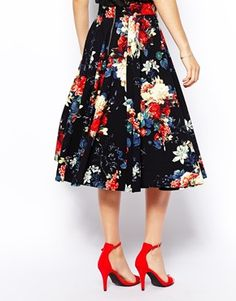 Image 2 of Closet Textured Midi Skirt in Autumn Floral Print